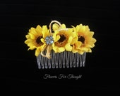 Sunflower Haircomb, Hair Accessory, Flowergirl, Bride Hairstyle, Rustic, Fall Woodland Wedding, Bridesmaid Gift