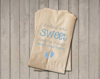 Boy Baby Shower Favor Bags, Babies Are Sweet Bags, Blue Baby Feet Shower Favor Bag, Baby Shower Bags, Baby Shower Candy Buffet - Blue & Grey