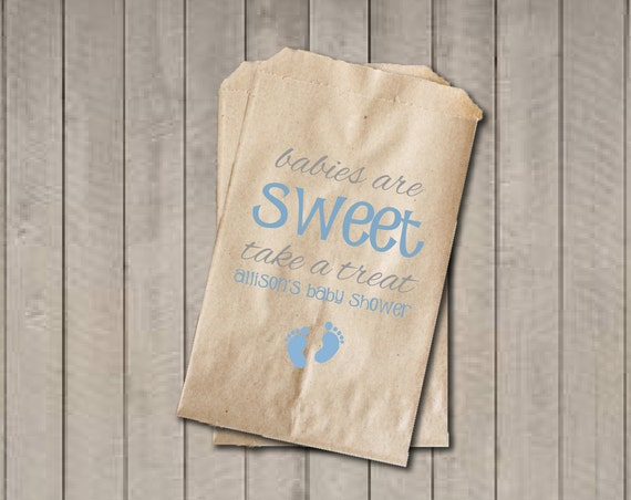 Boy Baby Shower Favor Bags Babies Are Sweet Bags Blue Baby Feet