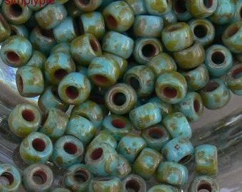 7/0 Matubo Turquoise Picasso Glass Seed Beads: 10 Grams Opaque Glass Beads