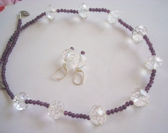 Genuine Amethyst Faceted Crystal Beadwork  Necklace Dangle Earrings Silver