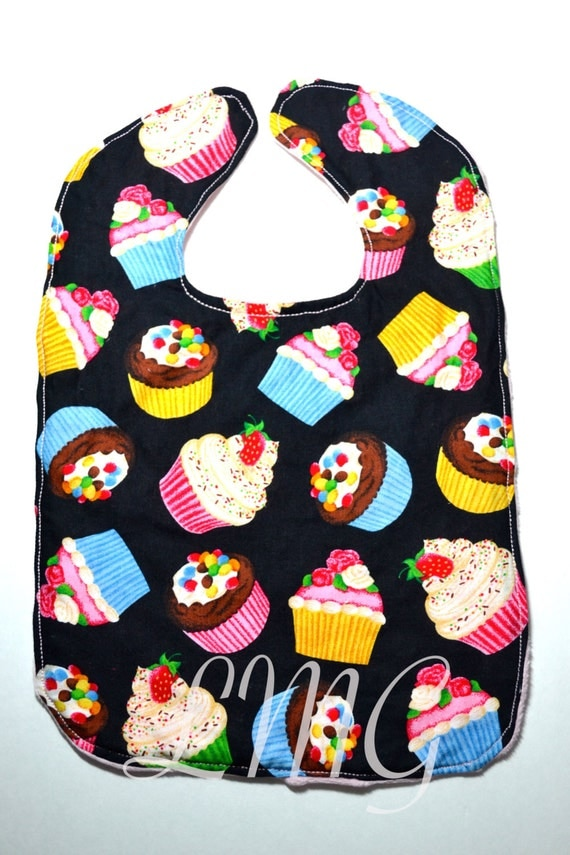 Reversible Bib with Pink Soft  Minky on the back - Cupcake bib - Minky bib - Baby bib