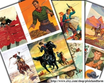Vintage Cowboy Clip Art Printable Digital Download