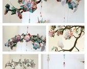 Pink and Blue Origami Cherry Blossom and Peace Crane Mobile