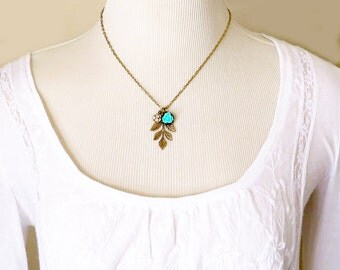 Leaf Necklace Flower Necklace Bridesmaid Jewelry Nature Gift Color Choice