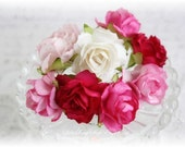 Mulberry Wild Roses~Pinks~ Set of 10 for Scrapbooking, Cardmaking, Altered Art, Wedding, Mini Album