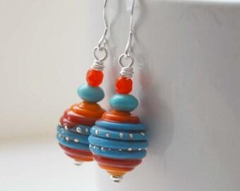 Southwestern Earrings, Ridged Earrings, Lampwork Glass Earrings, Red Turquoise Earrings, Beaded Earrings