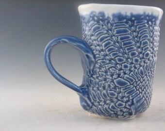 Small Handmade Blue and White Pottery Mug