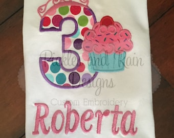 Customized Cupcake Girls Birthday Shirt