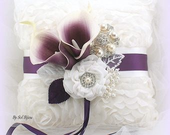 Ring Bearer Pillow, Calla Lily, Plum, Wedding, Bridal, Ivory, Off-White, Purple, Chiffon, Lace, Brooch, Crystals, Pearls, Elegant
