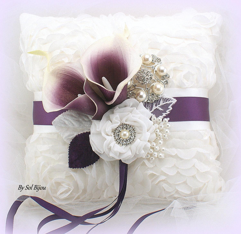Ring Bearer Pillow Calla Lily Plum Wedding Bridal Ivory