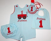 Boys First or Second Birthday Shortall, Red Wagon Jon Jon, First Birthday Red Wagon Jon Jon, Wagon Romper - Aqua Gingham