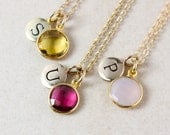 Gemstone Initial Charm Necklace - Choose Your Stone - Gold or Silver