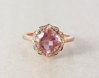 Vintage Morganite Pink Tourmaline and Diamond Engagment Ring - 10K Rose Gold