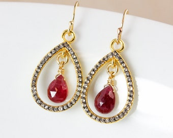 Gold Pink Tourmaline Earrings - Pave White Topaz - 14K Gold Filled