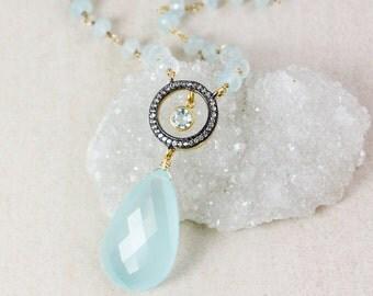 Aqua Chalcedony Layering Necklace – Pave White Topaz – Aqua Chalcedony Chain