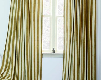 "SAMPLE SALE SINGLE window curtains Dirty Gold Stripe panels - 57""w x 84""L - Hand Block Printed with Natural dyes Cotton housewares"