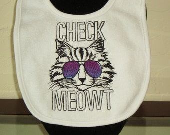 Customize this- Embroidered  Baby Bib of cool cat with trendy sunglasses KBD20147