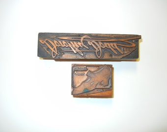 Two Antique Copper and Wood Advertising Printer's Blocks Dorothy Dodd Shoes 1930's