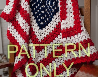 PATTERN for American Patriotic Flag Baby Blanket or Throw Crochet