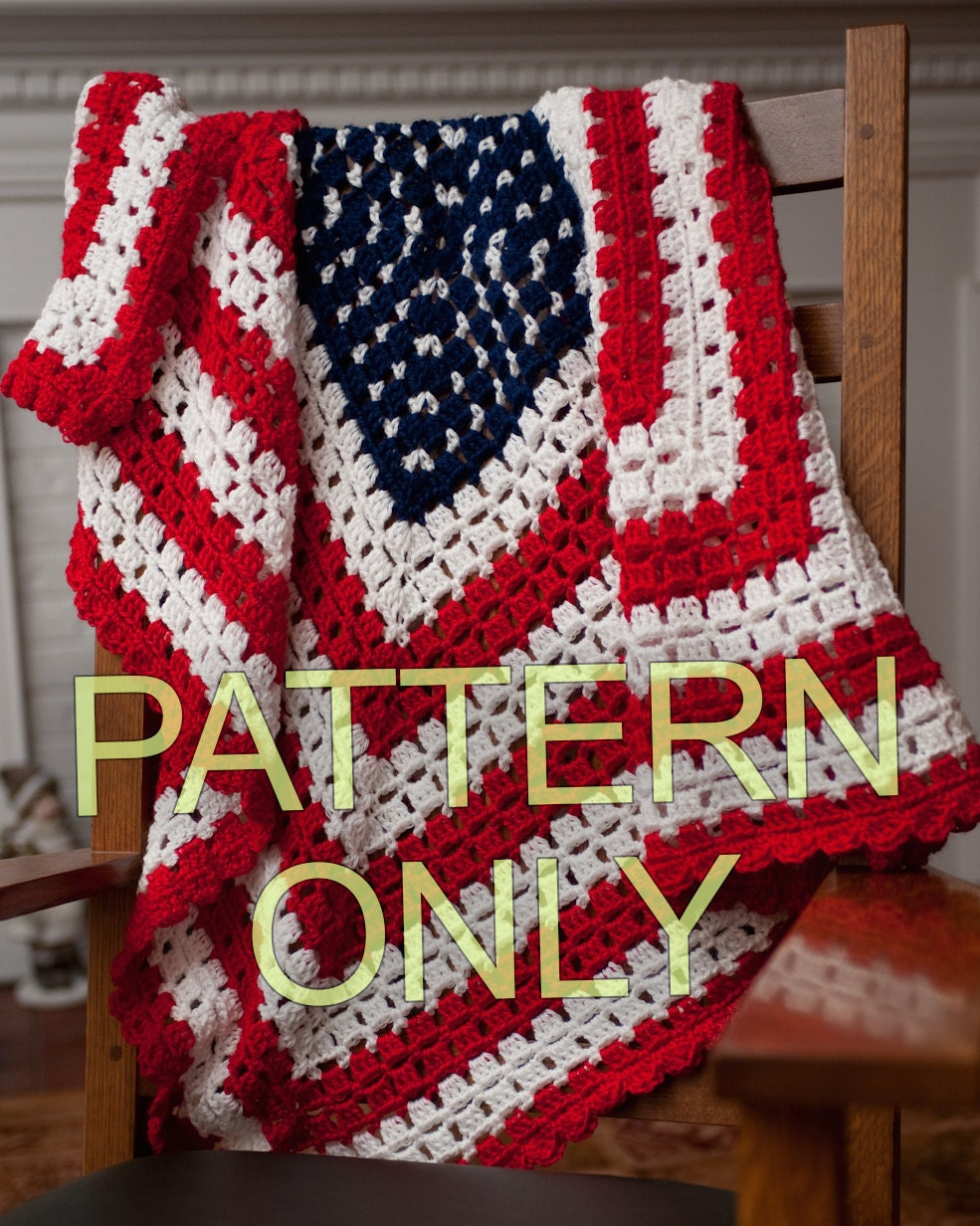 Crochet Pattern American Flag : PATTERN for American Patriotic Flag Baby Blanket or Throw