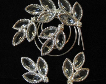 Clear Rhinestone Unfoiled Open Back Brooch and Earring Set