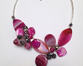 Statement Necklace, Bib, Collar, Large Stone, Pink, White, Modern, Wire Wrapped, Wearable Arrt, One of a Kind, Wedding