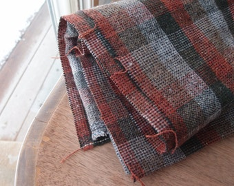 Vintage Fabric Wool Blend Plaid Evergreen Gray Grey Coral Yardage Sewing Supplies