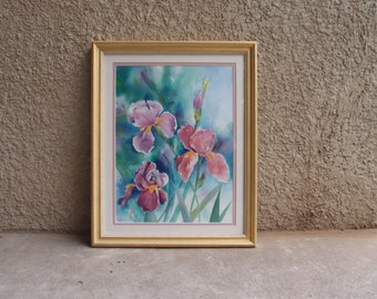 Vintage Original Art Painting Watercolor Iris Flowers Still Life Gorgeous Gold Frame Home Decor Pastel Spring Summer Signed Artist