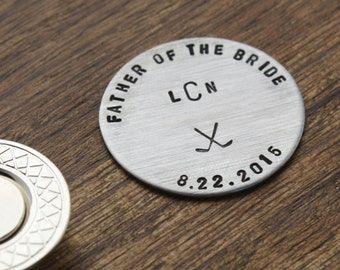 Father of the Bride Gift, Golf Ball Marker, Personalized Dad Gift, Personalized Golf Marker, Custom Golf Ball Marker, Hand stamped