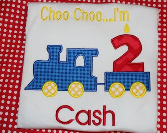Choo Choo I'm 2 trains birthday tshirt, or dress for boy or girl- any number you choose colors