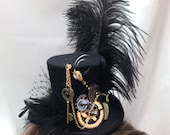 "Key Of TIMELESSNESS"" Steampunk Hair FASCINATOR mini TOP hat headdress Feathers and Vintage Clock gears"