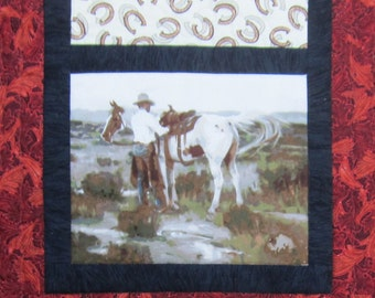 Western Cowboy and Horse Table Runner