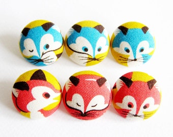 6 Large Fabric Buttons Set - Cute Foxes