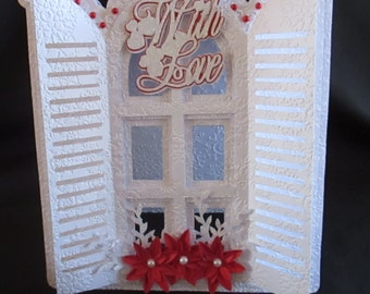Floral Window Card .. DXF,svg,scanNCut,Cricut,Scal