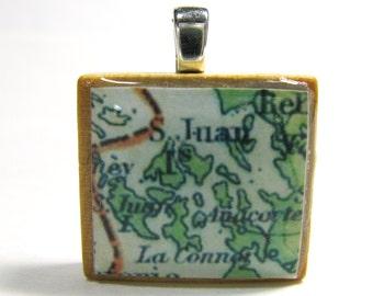 San Juan Islands - 1922 vintage Scrabble tile map pendant