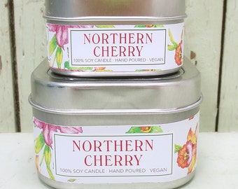Northern Cherry 4 oz. Soy Candle - Green Daffodil - Handpoured - Siouxsan and Anne -C4