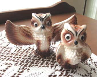 Vintage Owls Salt and Pepper Shaker Set