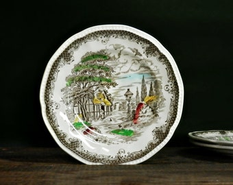 Vintage Dessert Plates, Bread and Butter Plates, Kensington Plates, Shakespeare's Sonnets, Shabby Chic, Rustic Kitchen