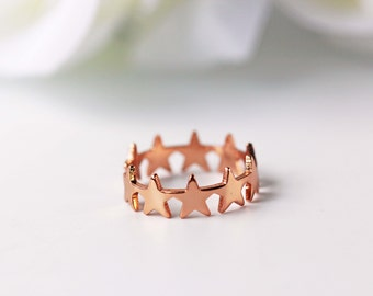 Stars Rose Gold Ring Adjustable Pink Gold Modern Everyday Jewelry