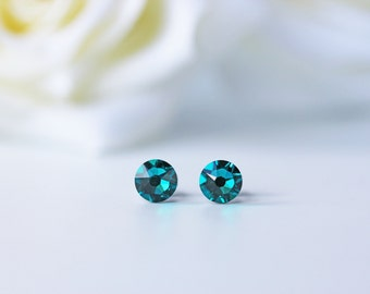 Blue Zircon Swarovski Crystal Titanium Earrings Greenish Blue Dainty Everyday Studs