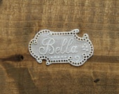 Vintage embroidered name tag BELLA lace monogram label washing mark laundry label vintage item handmade supply motif symbols