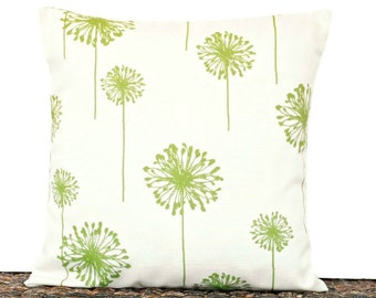 Green Dandelion Pillow Cover Cushion Olive Beige Floral Modern Outdoor Indoor Decorative 16x16