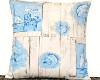 Blue Coastal Pillow Cover Cushion Seashells Sailboats Seagulls Beige Rustic Decorative 16x16