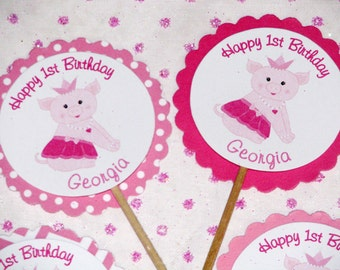 Princess Piggy Cupcake Toppers for Girls Pink Chevron