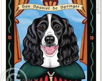 8x10 Springer Spaniel Art - Patron Saint of  Play - Art print by Krista Brooks