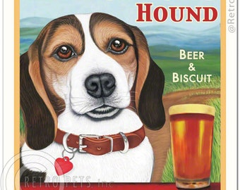 8x10 Beagle Art - Headstrong Hound - Beer & Biscuit, Tri-color - Art print by Krista Brooks