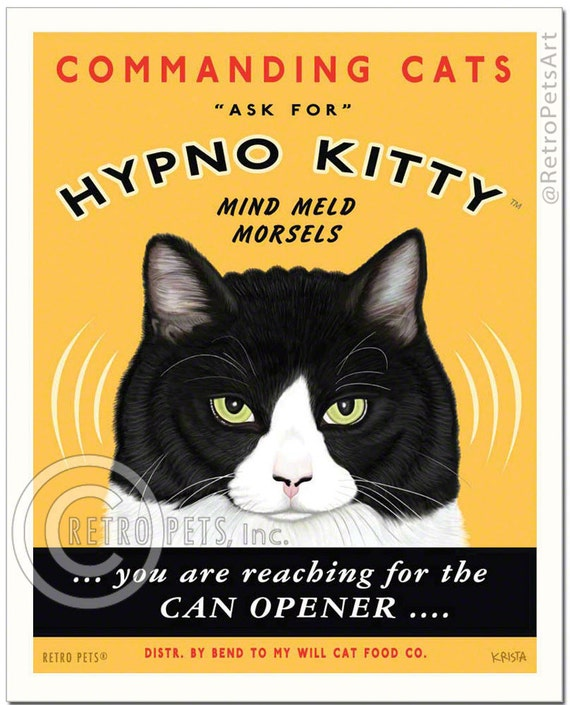 8x10 Cat Art - Hypno Kitty Mind Meld Morsels -  Art print by Krista Brooks