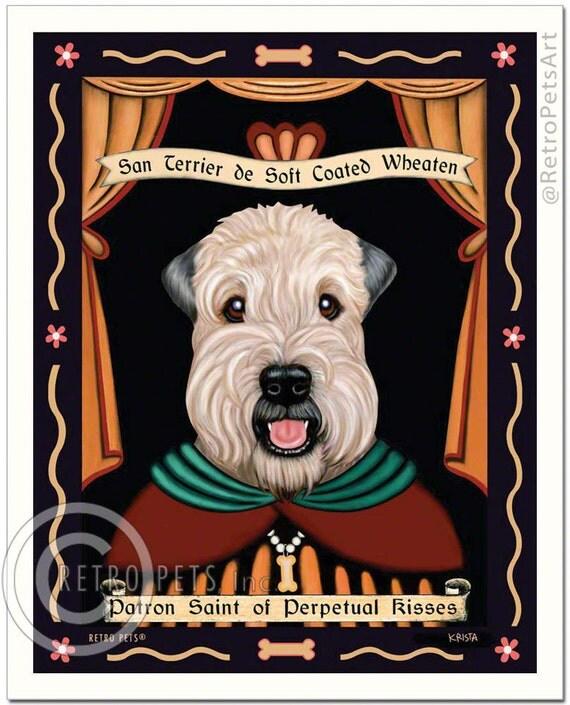 Soft Coated Wheaten Terrier Art - Patron Saint of Perpetual Kisses - 8x10 art print by Krista Brooks