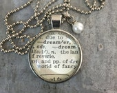 Vintage Dictionary Word Necklace DREAMER